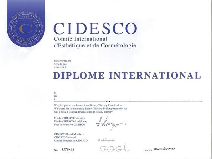 Диплом международного образца CIDESCO